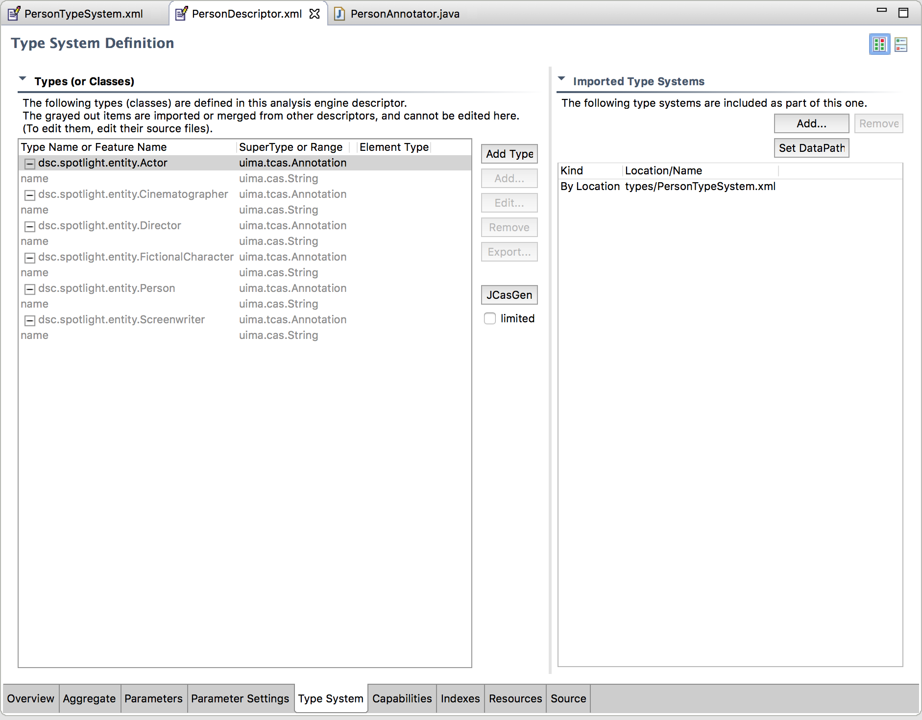 Figure 4  Uima Ae Editor In Eclipse  Type System